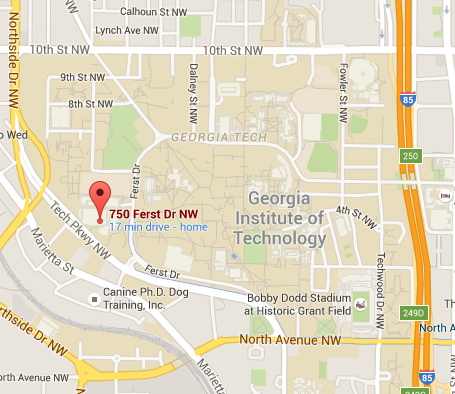 Map image of the CRC, 750 Ferst Drive, Atlanta, GA 30332